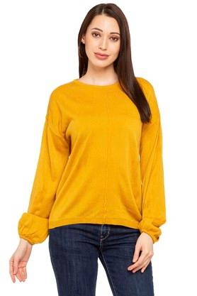 ELLE Womens Round Neck Knitted Sweater - 204271541_9418