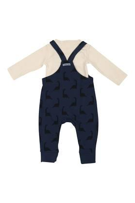 Kids Round Neck Printed Dungaree and Top Set