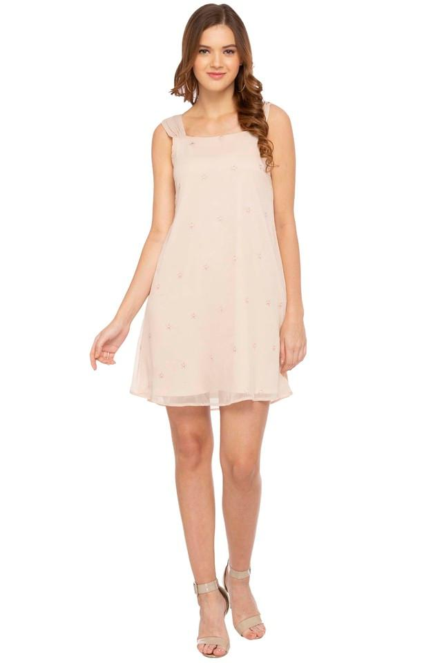 Womens Square Neck Embroidered A-Line Dress