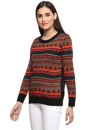 Womens Round Neck Printed Sweater