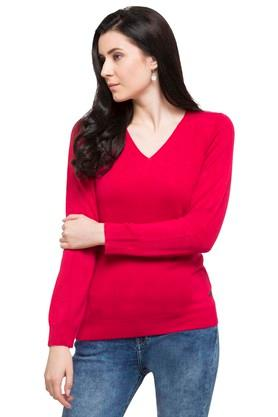 U.S. POLO ASSN. Womens V Neck Solid Sweater