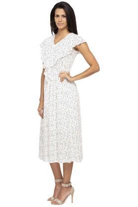 Womens V Neck Printed Midi Dress