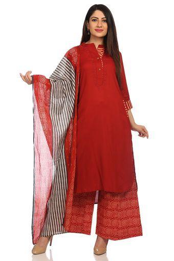 9908798448d Buy BIBA Womens Mandarin Neck Printed Palazzo Suit