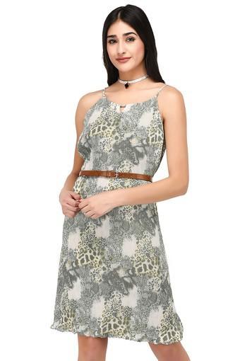 Womens Spaghetti Neck Printed Knee Length Dress