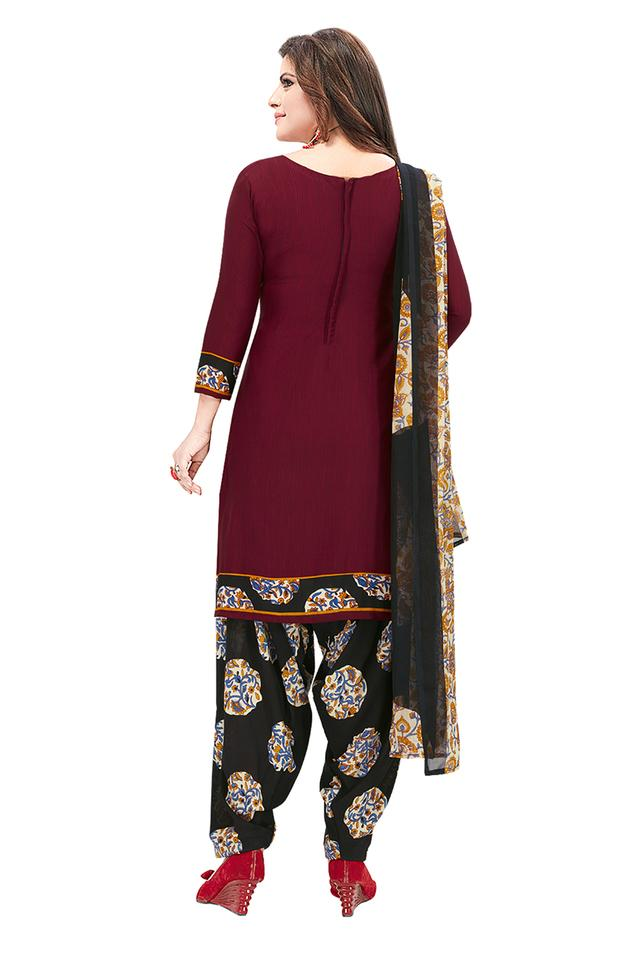 Womens Solid Unstitched Salwar Suit Dress Material with Dupatta