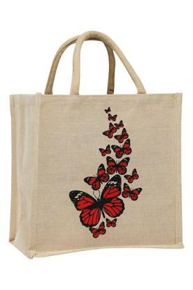 BACK TO EARTH Butterfly Printed Multipurpose Jute Bag