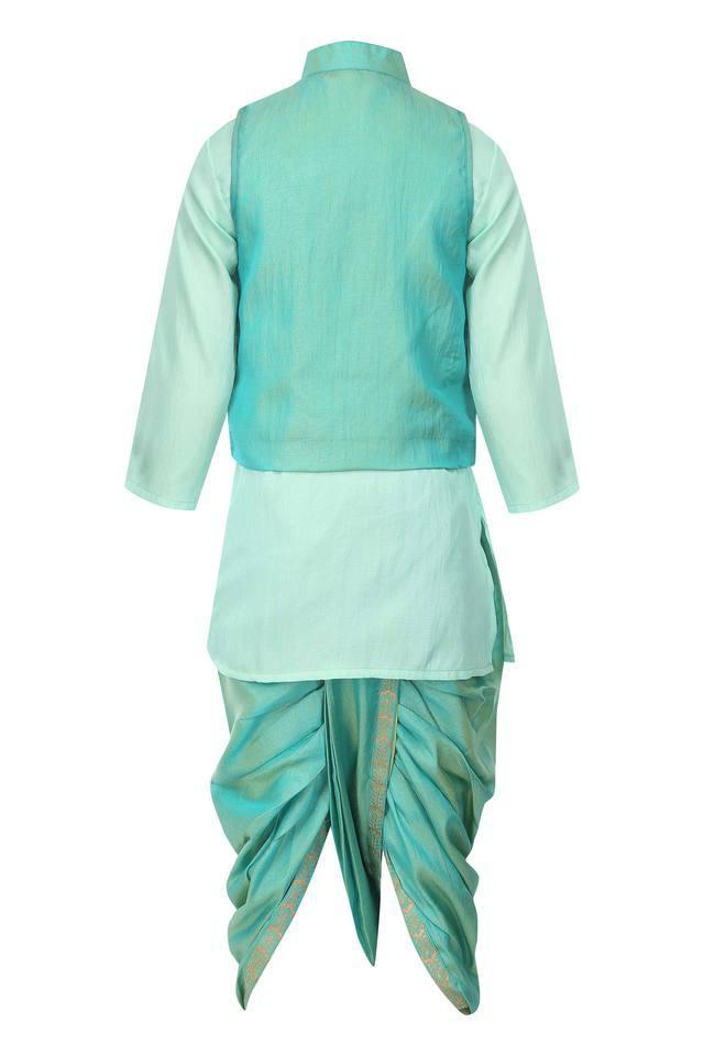 Boys Mandarin Collar Kurta, Dhoti and Jacket Set
