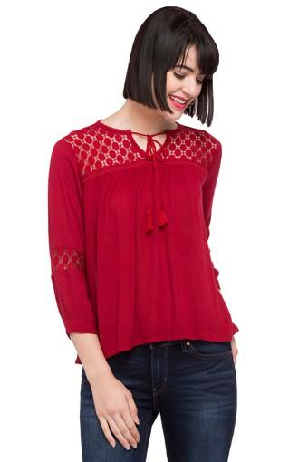 Womens Tie Up Neck Lace Top