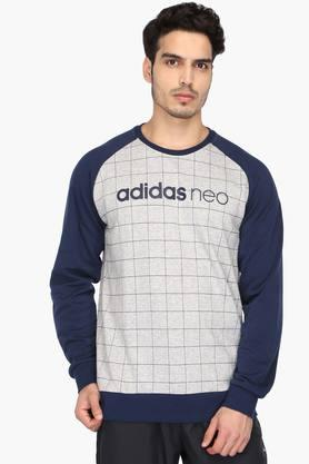 ADIDAS Mens Round Neck Check T-Shirt