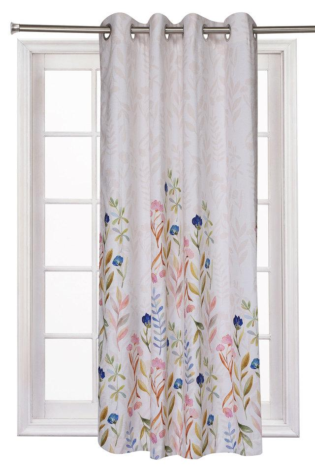 Chenille Floral Printed Window Curtain