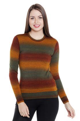FUSION BEATSWomens Round Neck Slub Sweater