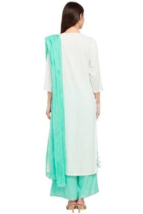 Womens Round Neck Printed Embroidered Palazzo Suit