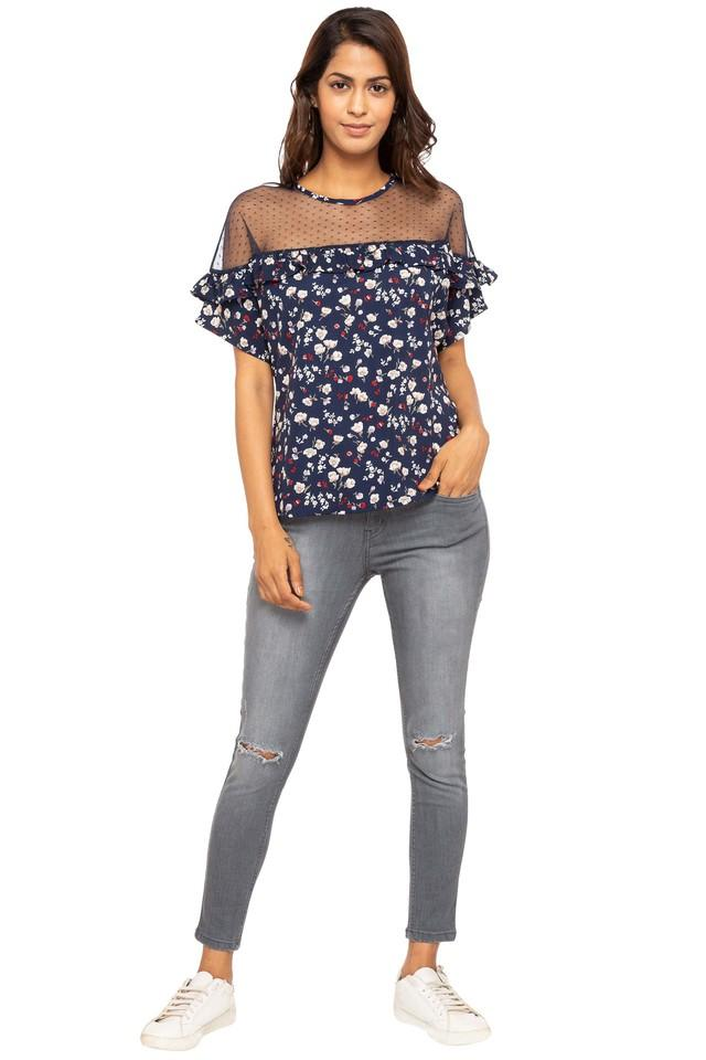 Womens Round Neck Printed Sheer Yoke Top