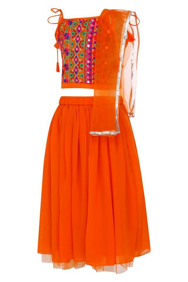 Girls Square Neck Embroidered Ghaghra Choli and Dupatta Set