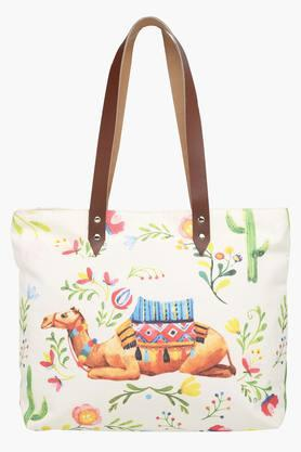 Canvas Printed Camel Shopping Bag with Leather Handle