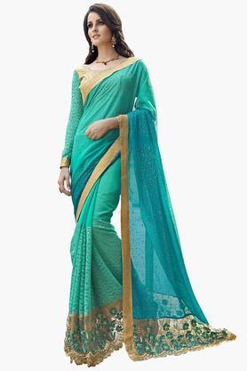 DEMARCAWomens Chiffon Embroidered Saree - 203229270