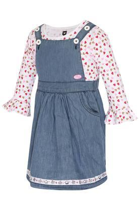 Girls Round Neck Printed Top and Solid Dungarees