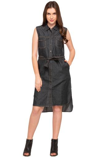 Womens 2 Pocket Washed Shirt Dress
