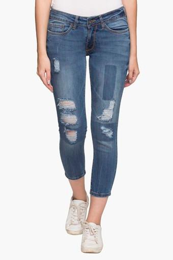 Womens 5 Pocket Heavy Wash Distressed Jeans