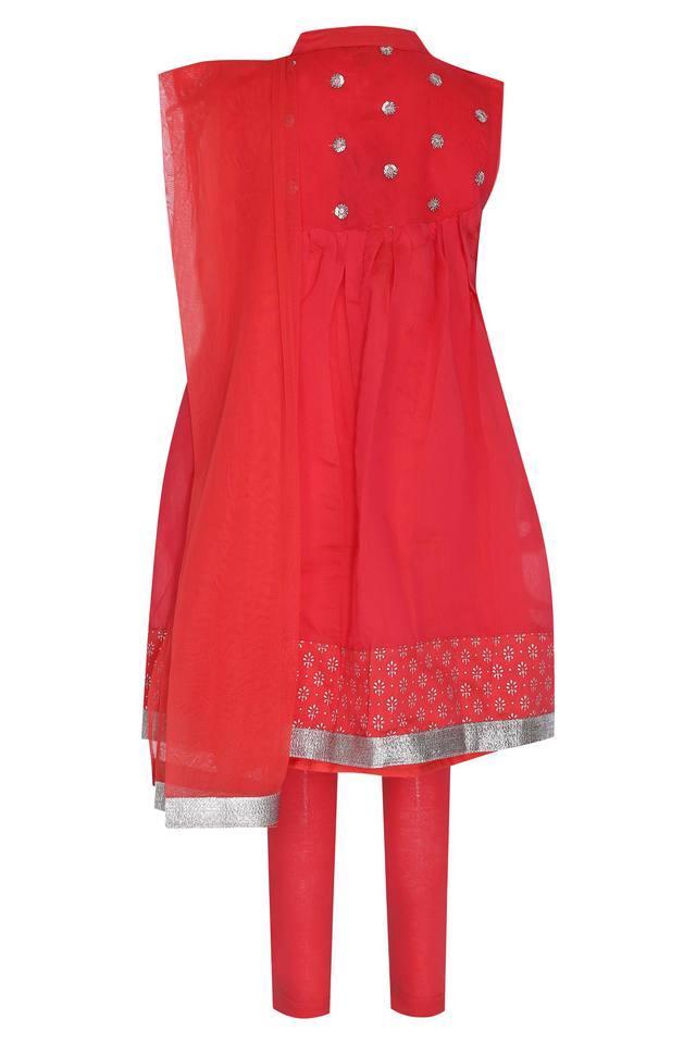 Girls Mandarin Neck Solid Sequin Churidar Suit