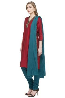 Womens V Neck Solid Churidar Suit