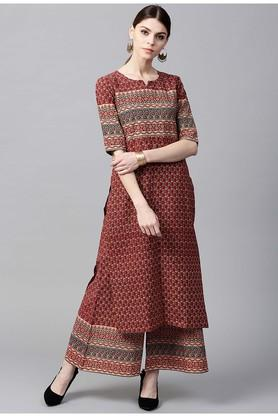 GERUA Women Cotton Printed Straight Kurta With Cotton Printed Palazzo