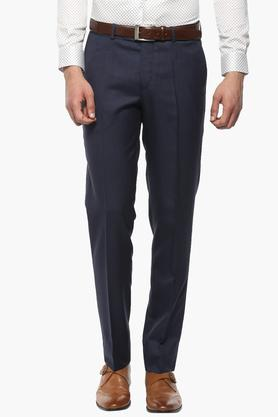 WILLS LIFESTYLE Mens Skinny Fit 4 Pocket Slub Formal Trousers