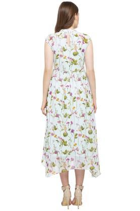 Womens Band Collar Floral Print Asymmetrical Dress