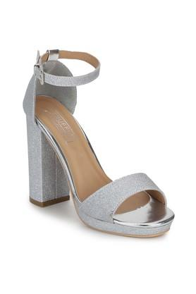 Womens Buckle Closure Pumpped Ankle Heeled Sandals