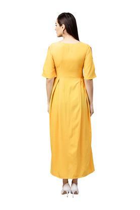 Womens Key Hole Neck Solid Maxi Dress