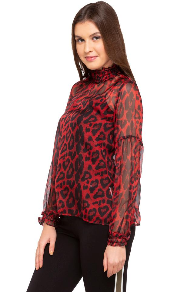 Womens High Neck Printed Top