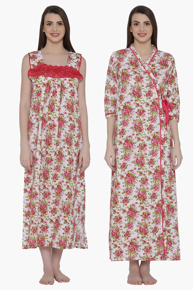 Womens Floral Print Night Gown & Robe