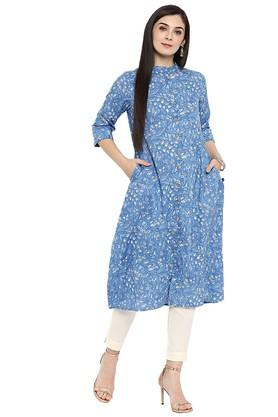 JUNIPER Womens Cotton Kalamkari Print A-Line Kurta With Pockets