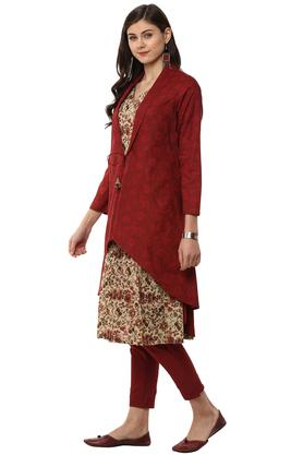 Womens Mandarin Collar Floral Print Kurta and Pants Set