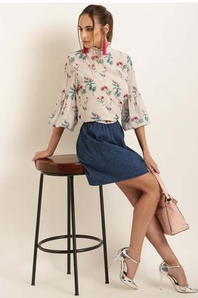 Womens Ruffled Collar Printed Top