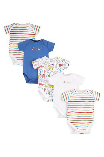 Boys Envelope Neck Printed and Striped Babysuit - Pack of 5