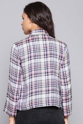 Womens Tie Up Neck Check Shirt