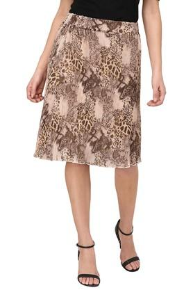 PURYS Womens Printed Knee Length Skirt