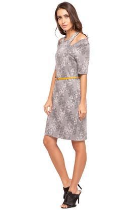 Womens Halter Neck Printed Knee Length Dress