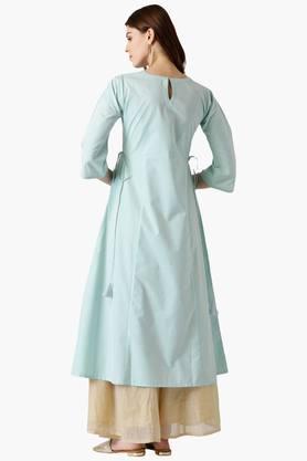 Womens Cotton Solid A-Line Kurta