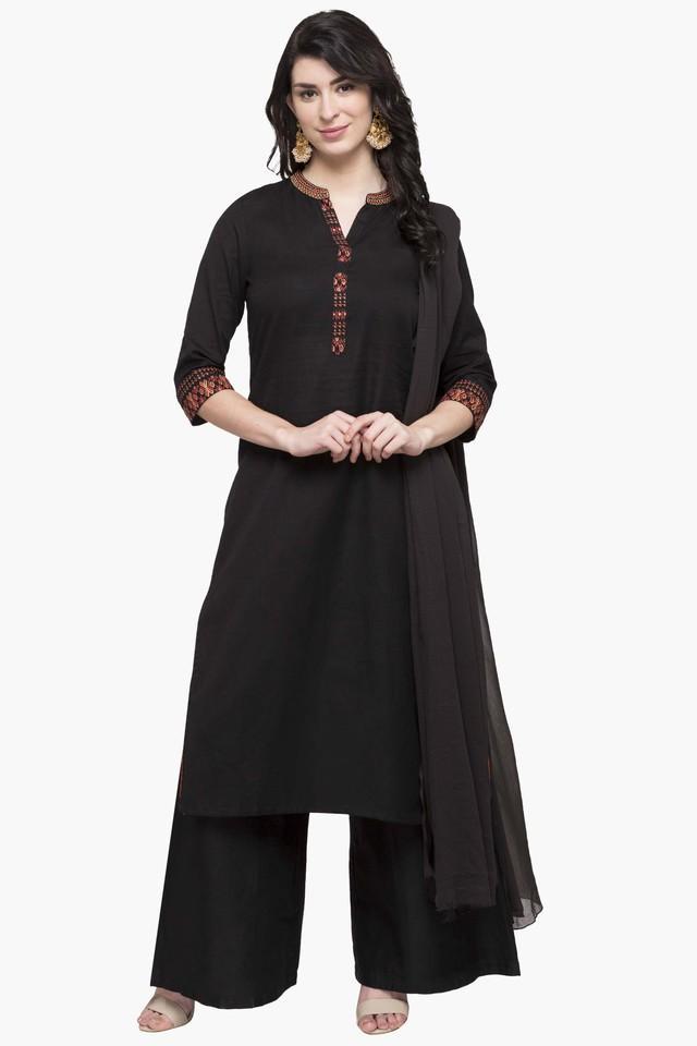 Womens Mandarin Neck Solid Palazzo Suit