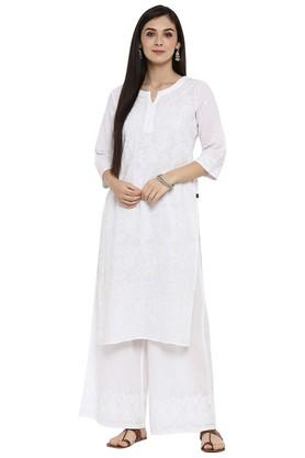 JUNIPER Womens Cotton Chikankari Embroidered Straight Kurta