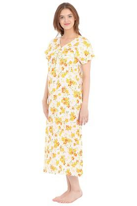 Womens V-Neck Floral Print Night Gown