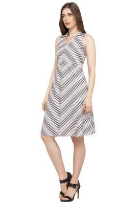 Womens V Neck Striped A-Line Dress