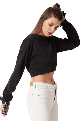 Womens Loose Fit Round Neck Solid Twill Tape and Tie up Top
