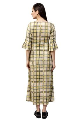 Womens Tie Up Neck Checked Maxi Dress