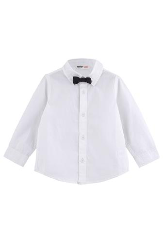 Boys Solid Casual Shirt with Bow Tie