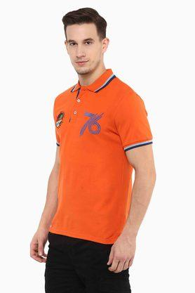 Mens Straight Fit Printed Polo T-Shirt