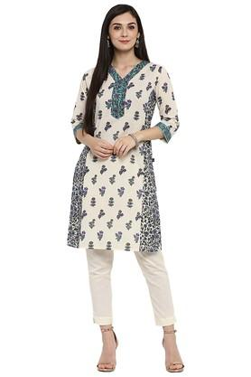 JUNIPER Womens Cotton Floral Print Straight Kurta