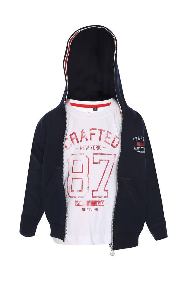 Boys Hooded Printed Tee with Jacket